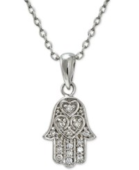 Giani Bernini Cubic Zirconia Hamsa Pendant Necklace In Sterling Silver Only At Macy's