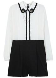 Alice Olivia Kara Two Tone Silk And Crepe Playsuit White And Black