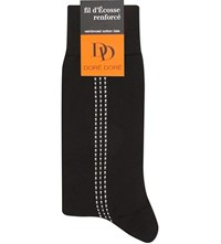 Dore Dore Dotted Stripe Cotton Socks Black Grey