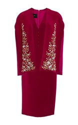 Georges Hobeika Embroidered Capelet Pencil Dress