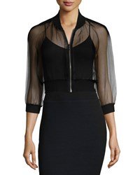 Monique Lhuillier 3 4 Sleeve Sheer Bomber Jacket Noir Women's