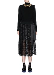Sacai Turtleneck Sweater Lace Pleat Combo Dress