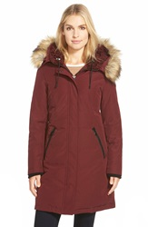 Vince Camuto Down And Feather Fill Parka With Faux Fur Trim Oxblood