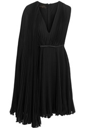 Giambattista Valli Satin Trimmed Pleated Silk Georgette Dress Black