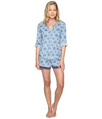 Lucky Brand Boyfriend Shorty Set Blue All Over Floral Women's Pajama Sets