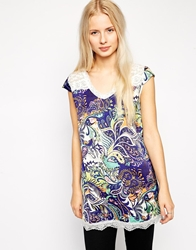 Pussycat London Printed Tunic With Crochet Trim Navy