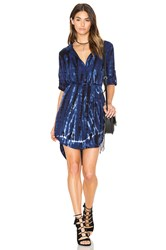 Bella Dahl Tie Dye Placket Shirt Dress Blue