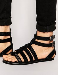 Asos Gladiator Sandals In Black Snakeskin Effect Leather With Studs Black