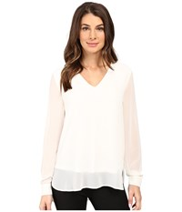 Calvin Klein Solid High Low V Neck Top Soft White Women's Blouse
