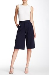 Pink Tartan Side Button Gaucho Pant Blue