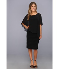 Adrianna Papell Chiffon Drape Overlay With Banding Black Women's Dress