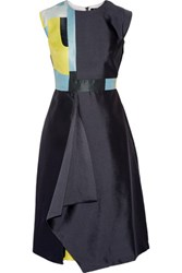 Raoul Raine Color Block Wool And Silk Blend Satin Mini Dress Anthracite