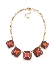 1St And Gorgeous Enamel Pyramid Pendant Statement Necklace In Garnet Orange Gold