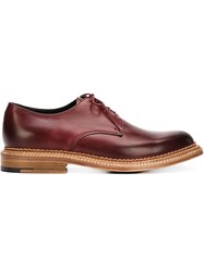 Grenson Stacked Heel Derby Shoes Red