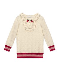 Gucci Silk Blend Knit Ruffle Trim Pullover Sweater White Red Size 6 12 Size 12