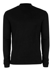 Topman Green Premium Black Turtle Neck Long Sleeve T Shirt