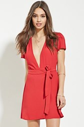 Forever 21 V Neck Wrap Mini Dress