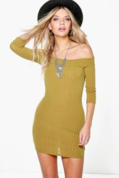 Boohoo Ribbed Off The Shoulder Bodycon Dress Olive