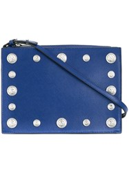 Versus Lion Head Studded Shoulder Bag Blue