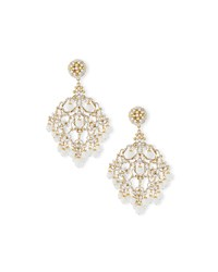 24K Plated Filigreed Chandelier Clip Earrings W White Wash Gold Jose And Maria Barrera
