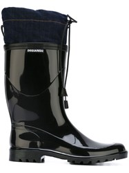 Dsquared2 Denim Panel Wellington Boots Black