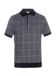 Brioni Hound's Tooth Knit Polo Shirt