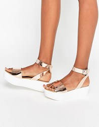 Asos Talia Wedge Sandals Rose Gold