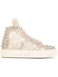 Philipp Plein 'Angry' Mid Top Sneakers Nude Neutrals