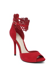 Jessica Simpson Bonney Peep Toe Suede Sandals Red