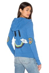 Lauren Moshi Noella Vintage Zip Up Hoodie Blue
