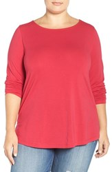 Sejour Plus Size Women's Ballet Neck Long Sleeve Tee Red Cerise