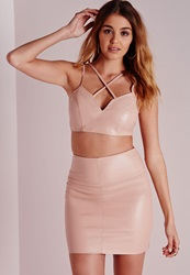 Missguided Faux Leather Cross Front Sweetheart Bralet Nude Beige