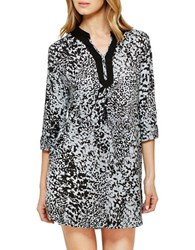 Ellen Tracy Leopard Three Quarter Sleeve Sleepshirt Grey