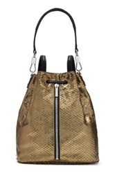 Elizabeth And James 'Cynnie' Snake Effect Leather Sling Backpack Metallic