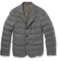 Dolce And Gabbana Quilted Striped Wool Blend Jacket Gray