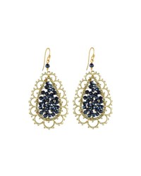 Nakamol Scalloped Golden Crystal Teardrop Earrings Montana Mix