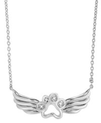 Macy's Aspca Tender Voices Sterling Silver Necklace Diamond Accent Paw And Wing Pendant
