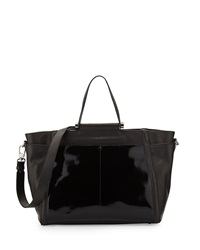 Charles Jourdan Rafa Contrast Textured Leather Tote Bag Black