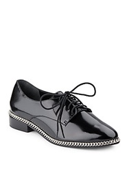 Schutz Niloka Chain Trimmed Faux Patent Leather Oxfords Black