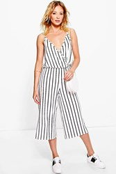 Boohoo Striped Culottes Wrap Front Jumpsuit Ivory