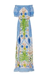 Naeem Khan Off The Shoulder Floral Embroidered Maxi Dress Blue White Green