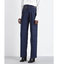 Victoria Beckham Grid Patterned High Rise Straight Wool Trousers Navy Pale Blue