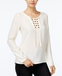 Kensie Long Sleeve Lace Up Top French Vanilla