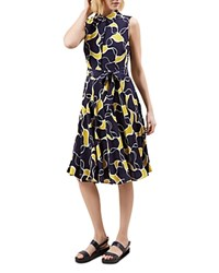 Hobbs London Belinda Printed Shirt Dress Navy Yellow