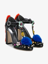 Dolce And Gabbana Fur Embellished Leather Mary Jane Pumps Black Multi Coloured Mink