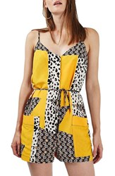 Topshop Women's Animal And Daisy Patch Print Belted Romper