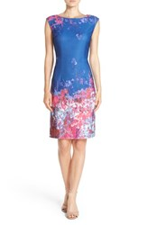 Adrianna Papell Women's Floral Border Print Scuba Sheath Dress