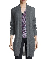 Rebecca Taylor Long Sleeve Pointelle Knit Cardigan Gray Grey