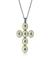 Azhar Capri Silver Zircon And Enamel Cross Necklace Multicolor