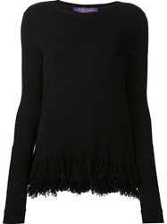 Ralph Lauren Cashmere Fringed Hem Jumper Black